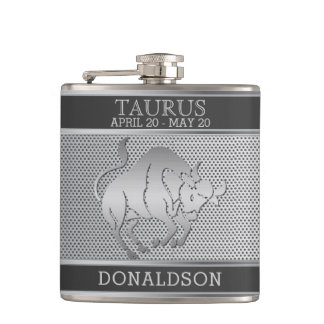 Taurus the Bull in Black and Silver Mesh Flask