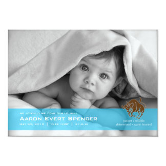 Taurus the Bull Photo Birth Announcement Card