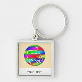 Taurus The Bull Rainbow Luggage Tag Baggage Tag Silver-Colored Square Keychain