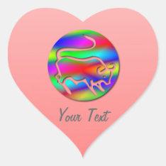 Taurus The Bull Zodiac Rainbow Color Pink Heart Heart Sticker at Zazzle