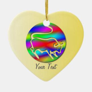 Taurus The Bull Zodiac Rainbow Heart Ceramic Ornament