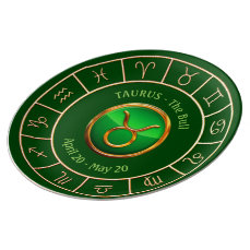 Taurus - The Bull Zodiac Sign With Horoscope Wheel Dinner Plate