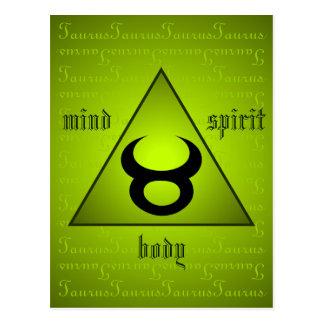 Taurus Triangle Mind Body Spirit Holistic Green Postcard