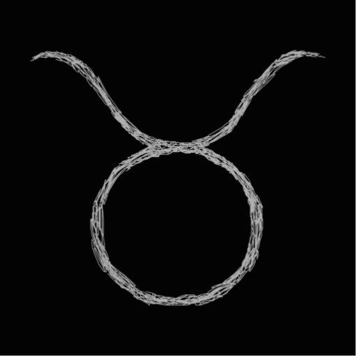 Taurus. Zodiac Astrology Sign. Black. Cut Outs