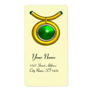 TAURUS ZODIAC BIRTHDAY Green Emerald Custom Shipping Label
