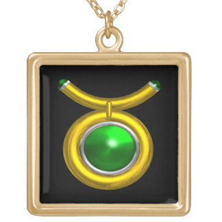 TAURUS ZODIAC BIRTHDAY JEWEL GREEN EMERALD  Gold Gold Plated Necklace