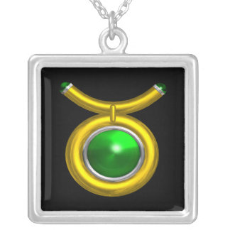 TAURUS ZODIAC BIRTHDAY JEWEL GREEN EMERALD  Gold Silver Plated Necklace