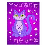 Taurus Zodiac Cat Purple Postcards