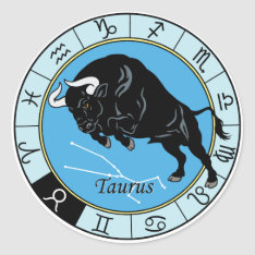 Taurus Zodiac Classic Round Sticker at Zazzle