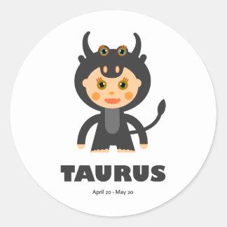 Taurus Zodiac for Kids Classic Round Sticker