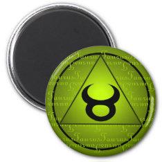 Taurus Zodiac Green Triangle Curly Script Magnet at Zazzle