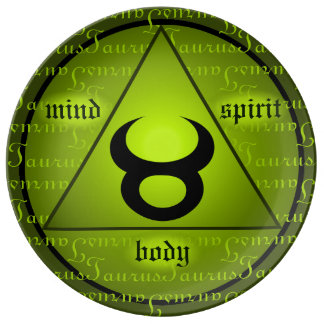 Taurus Zodiac Holistic Triangle Green Circle Plate