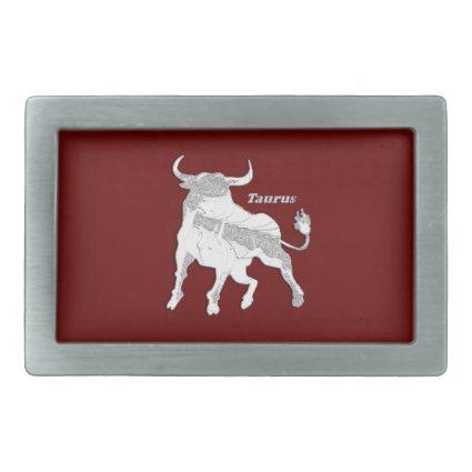 Taurus Zodiac Maroon Belt Buckle