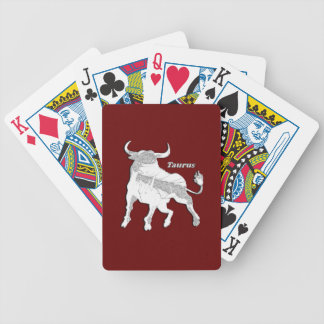 Taurus Zodiac Maroon Bicycle Playing Cards