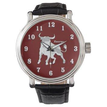 Taurus Zodiac Maroon Wrist Watch