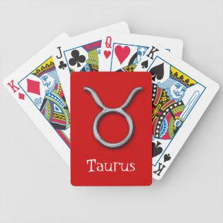 Taurus Zodiac-Red-faux metal Playing Cards