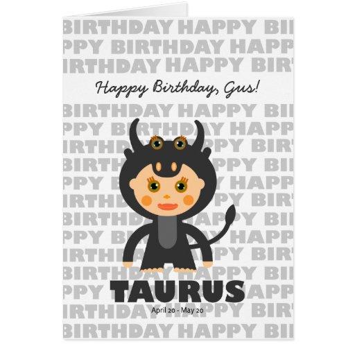 Taurus Zodiac Sign Birthday Card