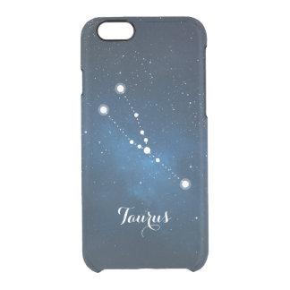 Taurus Zodiac Sign Blue Nebula Clear iPhone 6/6S Case