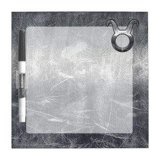 Taurus Zodiac Sign Grunge Distressed Silver Style Dry Erase Board