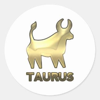 Taurus zodiac sign - old gold edition classic round sticker