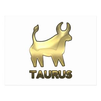Taurus zodiac sign - old gold edition postcard