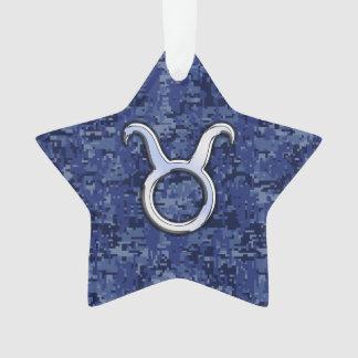 Taurus Zodiac Sign on Blue Digital Camouflage Ornament
