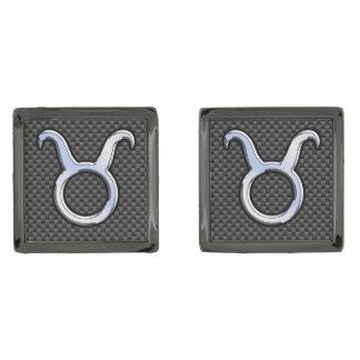 Taurus Zodiac Sign on Charcoal Carbon Fiber Print Gunmetal Finish Cufflinks