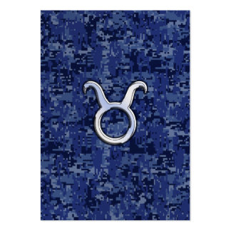 Taurus Zodiac Sign on Navy Blue Digital Camouflage Large Business Card