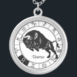 "taurus zodiac silver plated necklace<br><div class=""desc"">taurus astrological zodiac sign</div>"