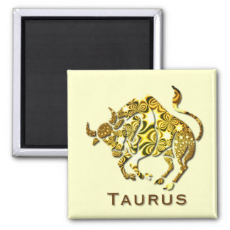 Taurus Zodiac Square Button Magnets