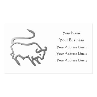 Taurus Zodiac Star Sign In Light Silver Business Card