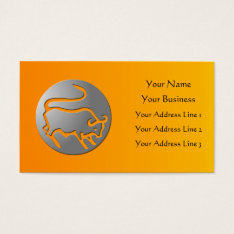 Taurus Zodiac Star Sign Silver Premium Business Card at Zazzle