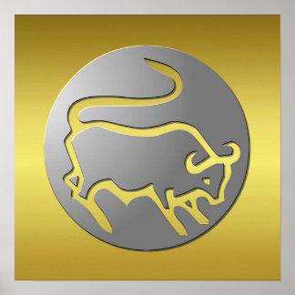 Taurus Zodiac Star Sign Silver Premium Poster