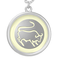 Taurus Zodiac Star Sign Silver Premium Silver Plated Necklace at Zazzle