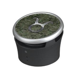 Taurus Zodiac Sybol on Olive Green Digital Camo Bluetooth Speaker
