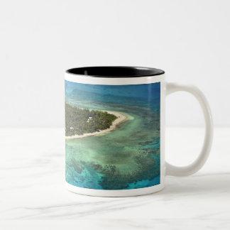 Tavarua Island and coral reef, Mamanuca Islands Two-Tone Coffee Mug