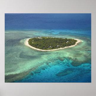 Tavarua Island and coral reef, Mamanuca Islands Poster