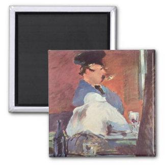 Tavern - Edouard Manet 2 Inch Square Magnet
