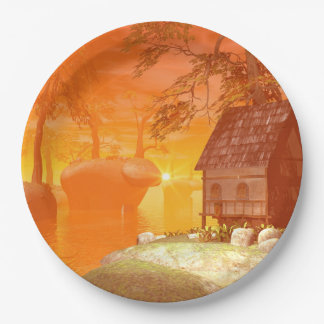 Tavern on the rock by the lake 9 inch paper plate