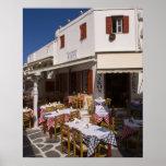 Taverna Nikos, Mykonos, islas de Cícladas, Grecia Póster
