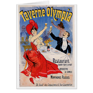 Taverne Olympia Vintage Restaurant Ad Art Card