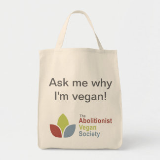 TAVS Organic Tote - Ask me why I'm vegan! - Eng Grocery Tote Bag