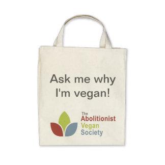 TAVS Organic Tote - Ask me why I'm vegan! - Eng Tote Bags
