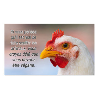 "TAVS ""porqué veganism?"" Tarjetas de visita en fran"