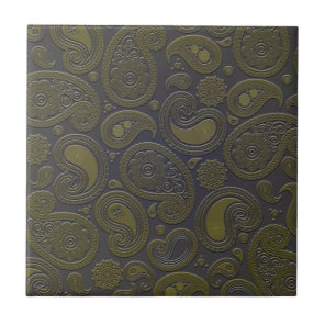 Tawny brown paisley design ceramic tile