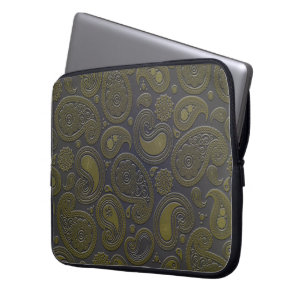 Tawny brown paisley design computer sleeve