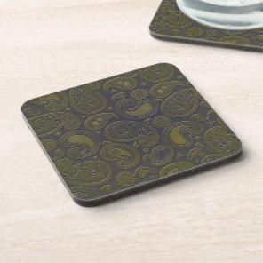 Tawny brown paisley design drink coaster