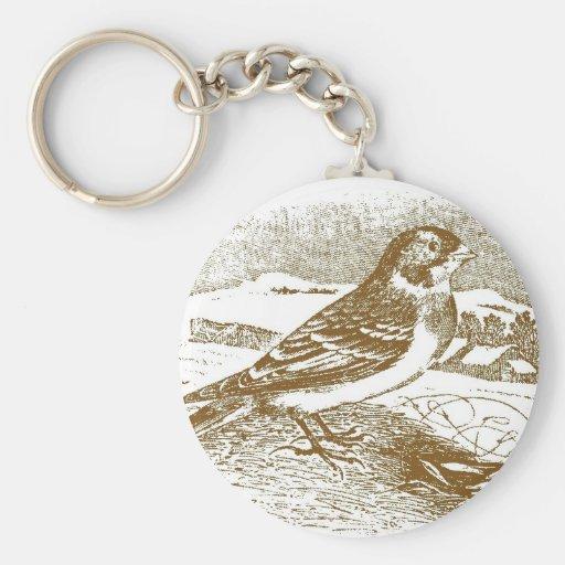 Tawny Bunting Woodcut Keychains