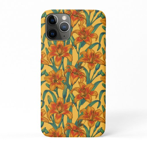 Tawny daylily flowers, blue and yellow iPhone 11 pro case