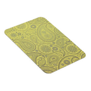 Tawny earth colored Paisley on yellow Magnet